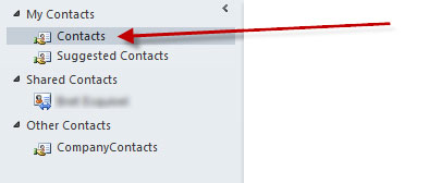 Contacts folder error