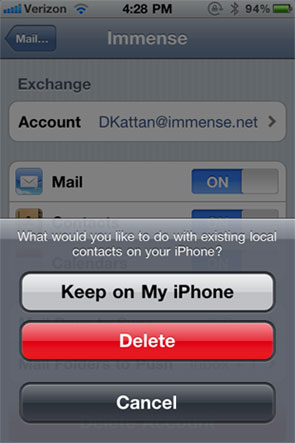 What would you like to do with existing local contacts on your iPhone?