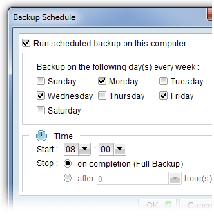 Schedule automated offsite backups