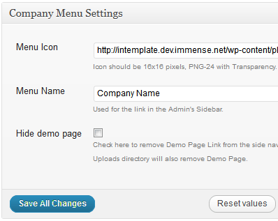 My Company Menu help/settings page