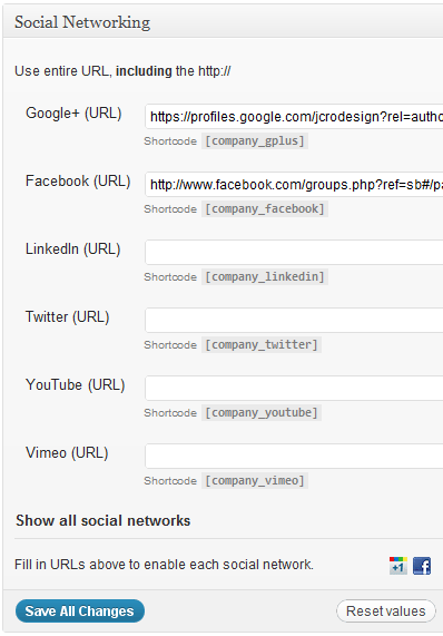 Manage links to your social media sites